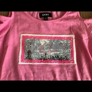 5b9f0c10090d8 DKNY Shirts   Tops - DKNY cold shoulder shirt with reversible sequins
